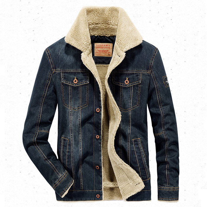 เสื้อแจ็กเก็ตยีนส์กันหนาวรุ่นหนา ซับขนนุ่ม AFS JEEP (10181MM)