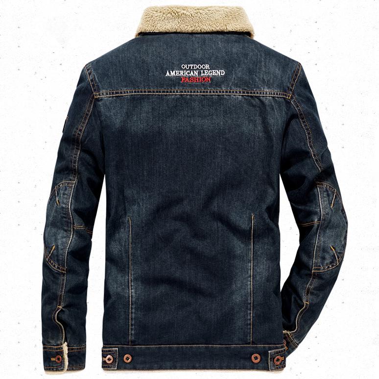 เสื้อแจ็กเก็ตยีนส์กันหนาวรุ่นหนา ซับขนนุ่ม AFS JEEP