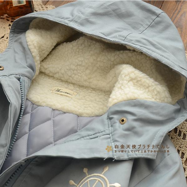 เสือโค้ทกันหนาว มีฮู้ดซับขนแกะ แต่งลายวินทจน่ารัก