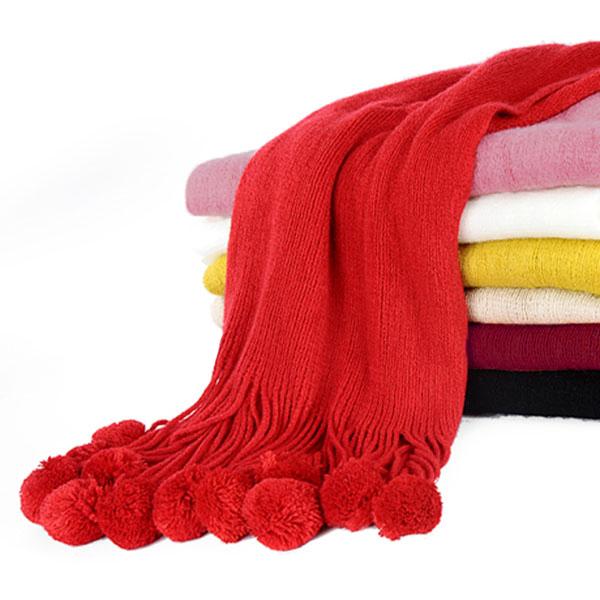 ผ้าพันคอกันหนาว ไหมพรมกึ่งวูลหนานุ่ม แต่งริ้วปอมบอล