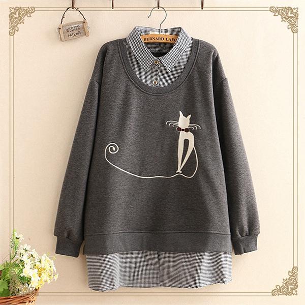 เสื้อสเว็ตเตอร์ปกเชิ้ต แฟชั่นวินเทจ แต่งลายแมวน่ารัก