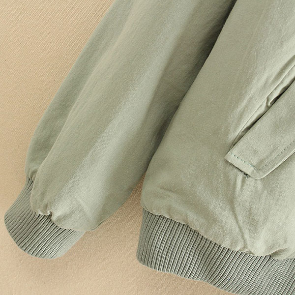 เสื้อแจ็คเก็ตกันหนาวสีพื้น แต่งกระเป๋าคู่ แฟชั่นญี่ปุ่น