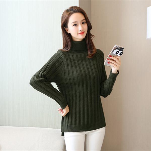 เสื้อคอเต่า เสื้อไหมพรมวูลรุ่นหนาผ้าทอนิ่มทอลายทาง (12082B)
