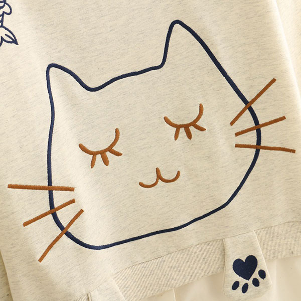 เสื้อสเวตเตอร์แฟชั่นญี่ปุ่น ปักลายแมว แต่งชายหมือนใส่สองชั้น