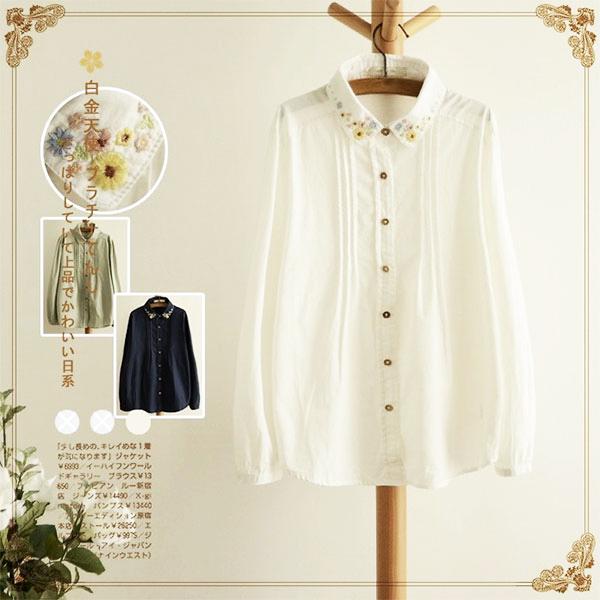 เสื้อเชิ้ตแฟชั่นญี่ปุ่น แขนยาว ปักลายดอกไม้วินเทจ