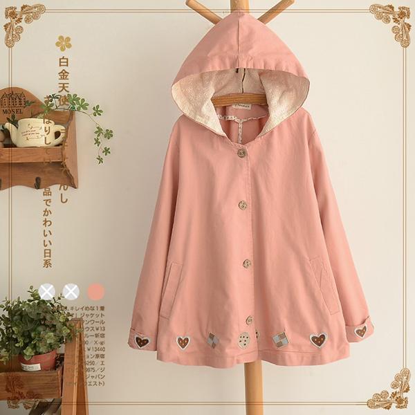 เสื้อแจ็คเก็ตกันหนาววินเทจ มีฮู้ดซับผ้าลูกไม้น่ารัก