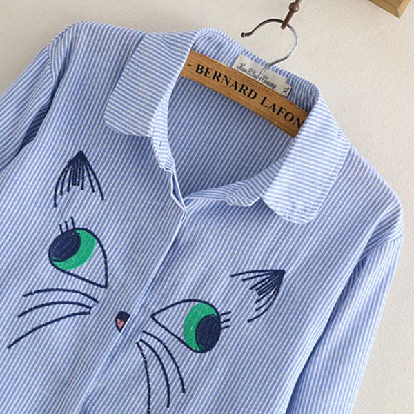 เดรสเชิ้ตแฟชั่นญี่ปุ่น แต่งปักลายน้องแมวน่ารัก