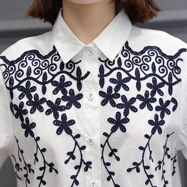 เสื้อเชิ้ตแขนยาว ปักลายดอกไม้สไตล์วินเทจ