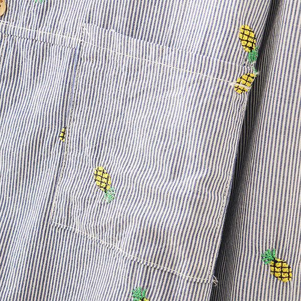 เสื้อเชิ้ตตัวยาวแฟชั่นญี่ปุ่น ปักลายสับปะรดน่ารัก
