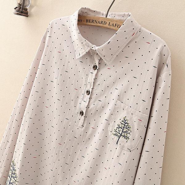 เสื้อเชิ้ตตัวยาวแฟชั่นญี่ปุ่น ปักลายสไตล์วินเทจ