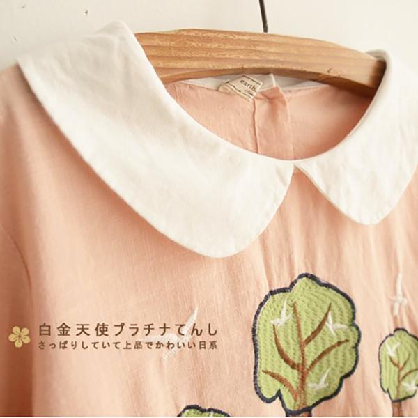 เดรสแฟชั่นญี่ปุ่น ผ้าทอเนื้อนิ่มแต่งปักลายสไตล์วินเทจ