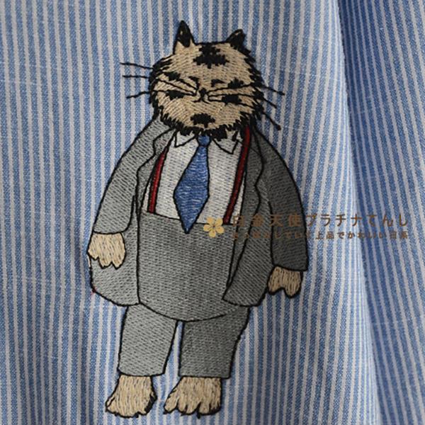 เดรสแฟชั่นญี่ปุ่น ผ้าทอเนื้อนิ่มแต่งปักลายแมวสไตล์วินเทจ