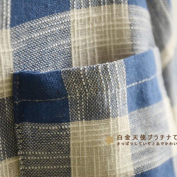 เสื้อเชิ้ตแฟชั่นวินเทจ ผ้าทอนิ่มลายสก็อต มีสแนปแขน (12119LM)