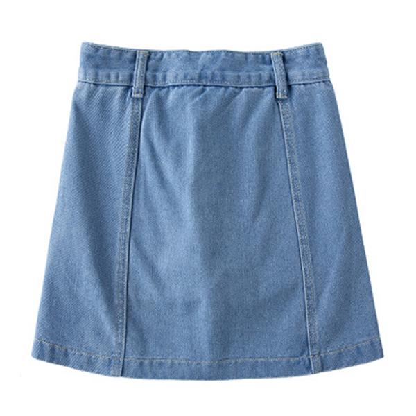 กางเกงกระโปรงยีนส์ฟอกนิ่ม แต่งปักลายดอกไม้วินเทจ