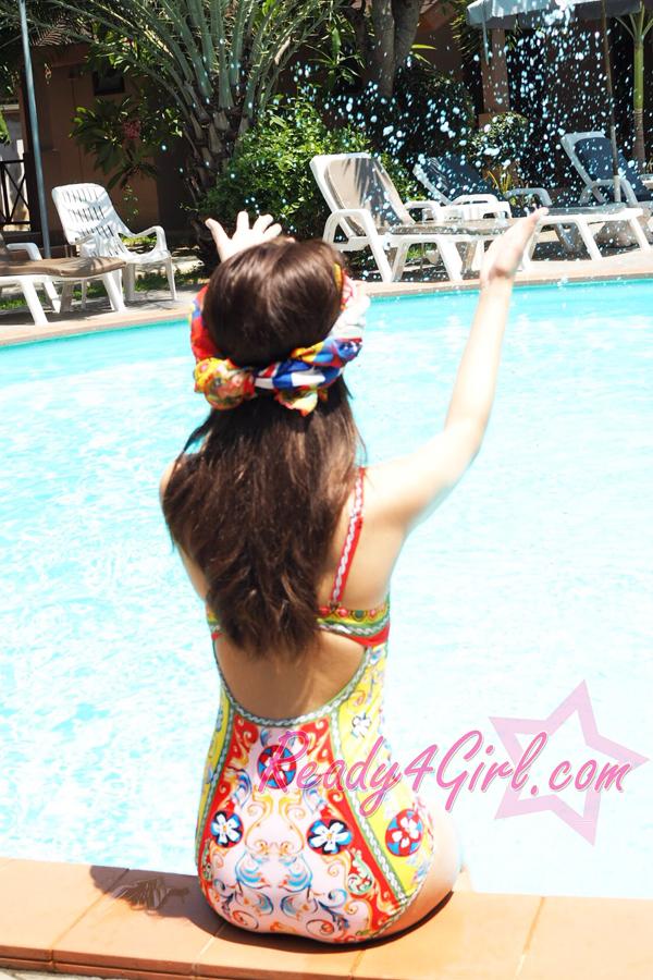 ชุดว่ายน้ำวันพีซลายวินเทจ พร้อมผ้าคลุม งานพรีเมี่ยม #Review Ready4Girl