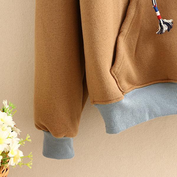 เสื้อสเว็ตเตอร์กันหนาวมีฮู้ด สีทูโทน แต่งปักลายนัมเบอร์ 6