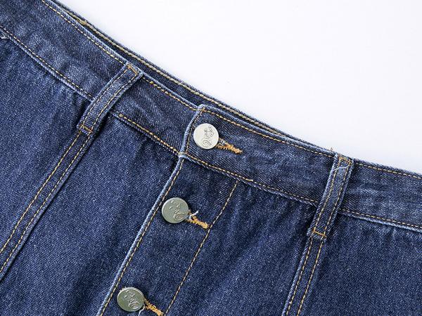กางเกงกระโปรงยีนส์ กระดุมผ่าหน้า แต่งปักลายวินเทจ