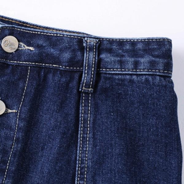 กระโปรงกางเกงยีนส์ฟอกนิ่ม แต่งปักลายดอกไม้วินเทจ