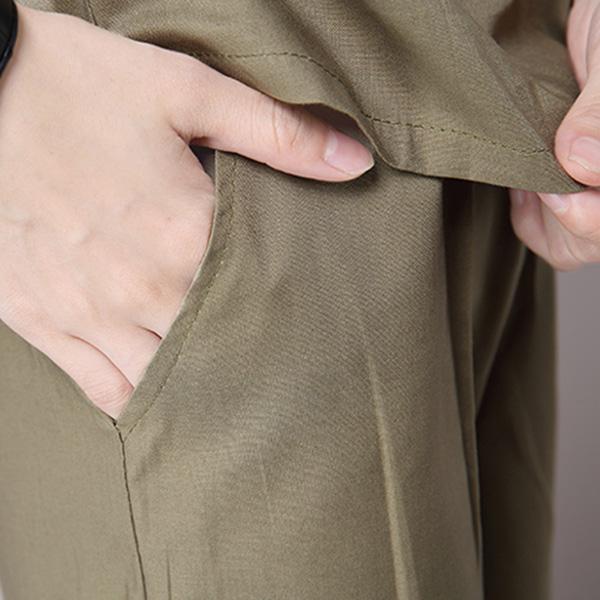ชุดเสื้อคู่กางเกงขาสั้น ผ้าทอนิ่มสีพื้น