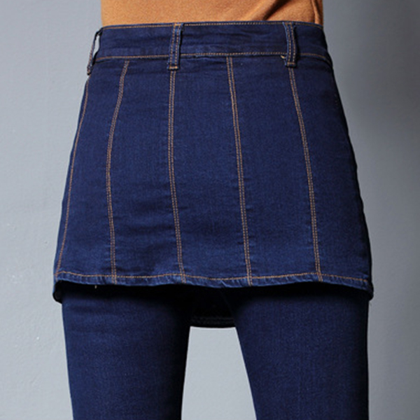 กางเกงกระโปรงยีนส์แฟชั่น ทรงสกินนี่ขายาว