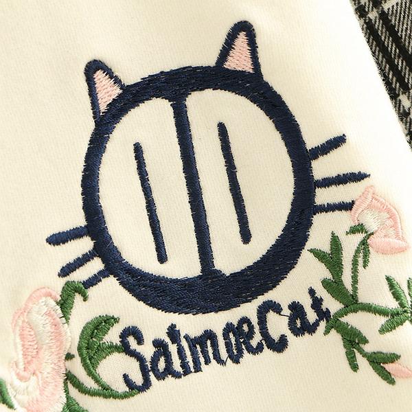 เสื้อสเวตเตอร์คอปกเชิ้ตลายสก็อต แต่งปักลายแมว