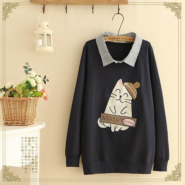 เสื้อสเวตเตอร์คอปกเชิ้ต ผ้าตอนตอนนิ่มแต่งปักลายแมว