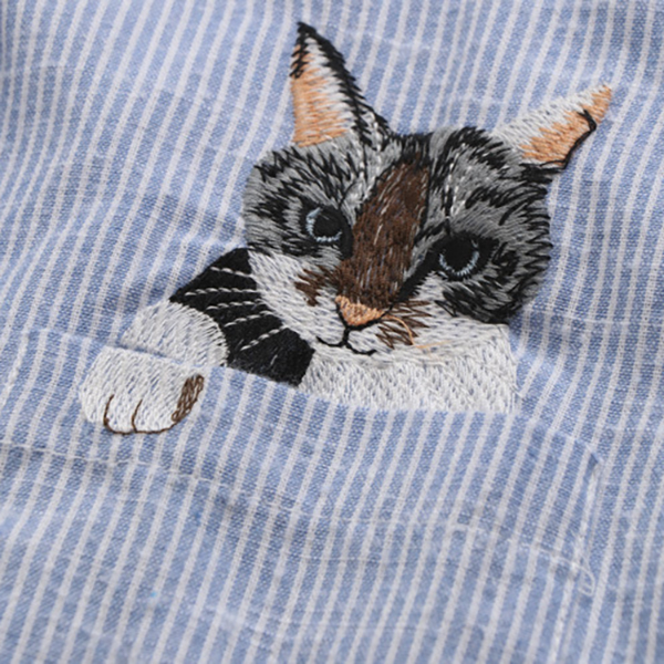 เดรสเชิ้ตแฟชั่นญี่ปุ่น แขนยาว ปักลายแมว