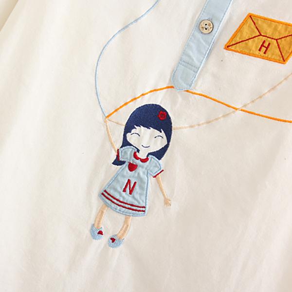 เสื้อแฟชั่นญี่ปุ่น ปกเชิ้ต แต่งปักลายวินเทจ