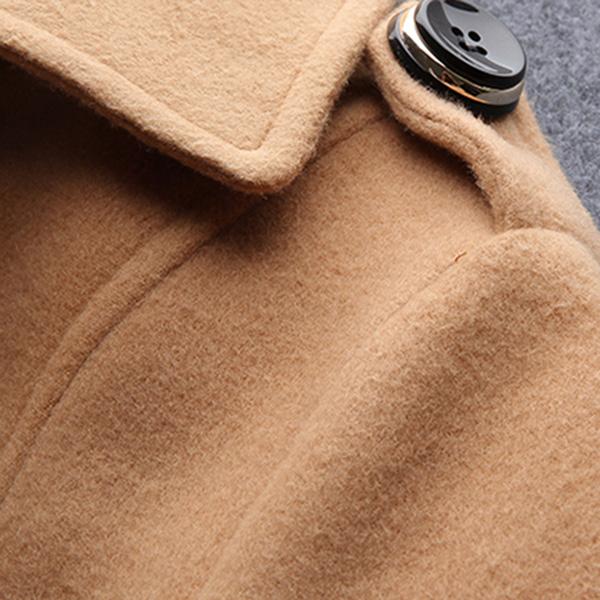 เดรสโค้ทกันหนาว ผ้าวูลหนา แต่งกระเป๋าคู่