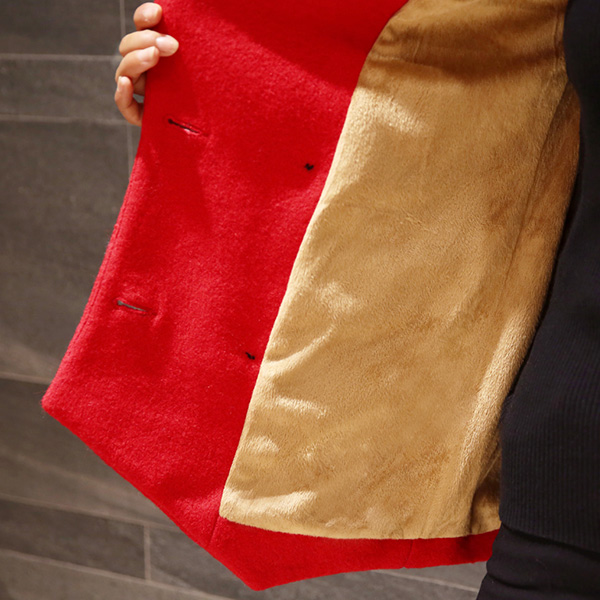 เสื้อโค้ทกันหนาวกึ่งสูท คอปกใหญ่ ผ้าวูลหนาบุผ้าขนนุ่ม