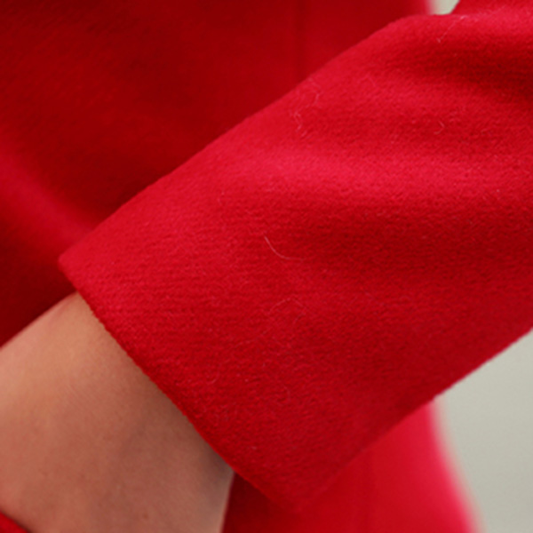 เสื้อโค้ทกันหนาวตัวยาว ผ้าวูลหนา แต่งกระเป๋าคู่ (12201X)