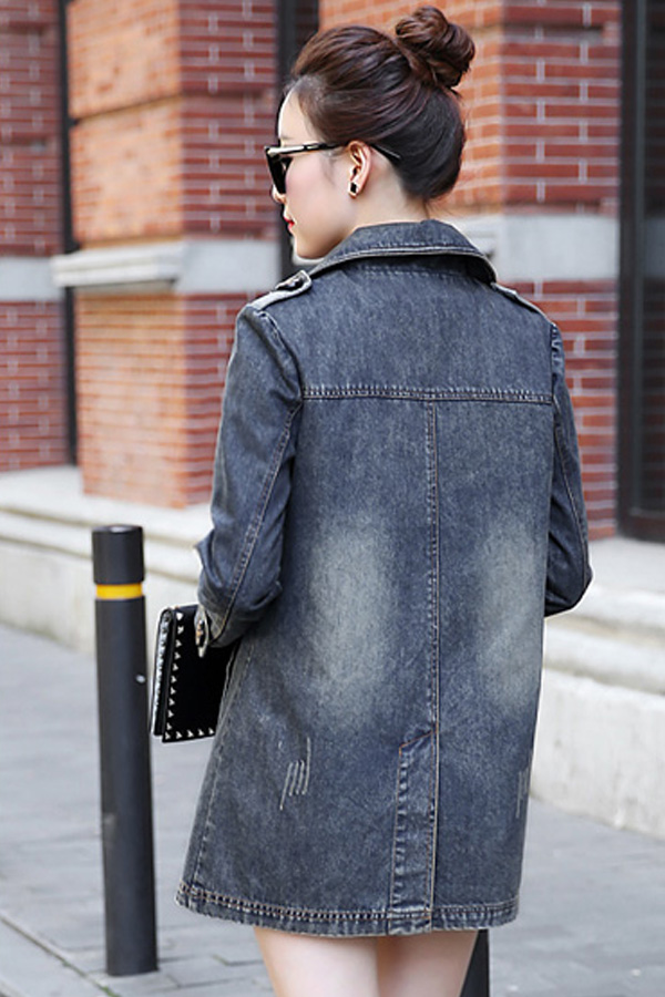 เสื้อโค้ทยีนส์กันหนาว ปกใหญ่ แต่งกระเป๋าคู่