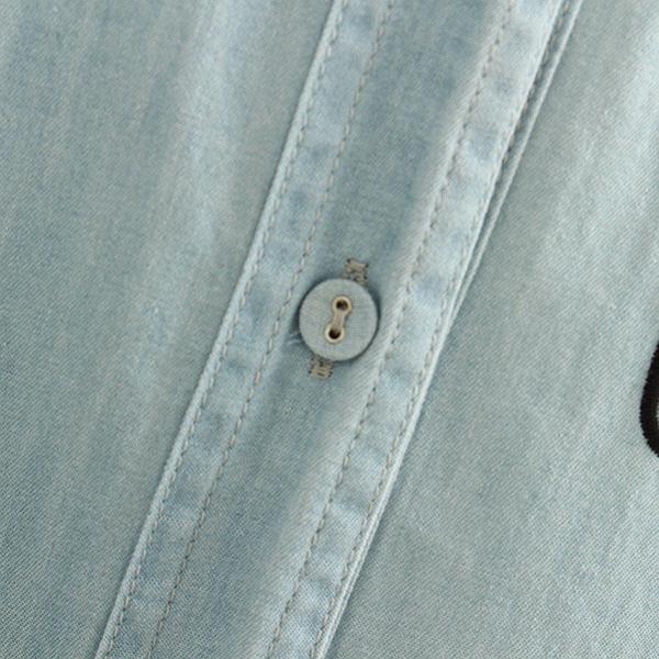 เดรสเชิ้ตผ้ายีนส์ฟอกนิ่ม ปักลายสนูปปี้ มีกระเป๋าคู่