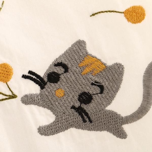 เดรสเชิ้ตแฟชั่นญี่ปุ่น แขนยาว ปักลายแมวน่ารัก