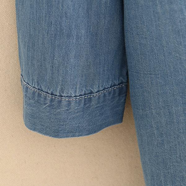 เดรสเชิ้ตผ้ายีนส์ฟอกนิ่ม แขนยาว ปักลายแมว (12260LM)
