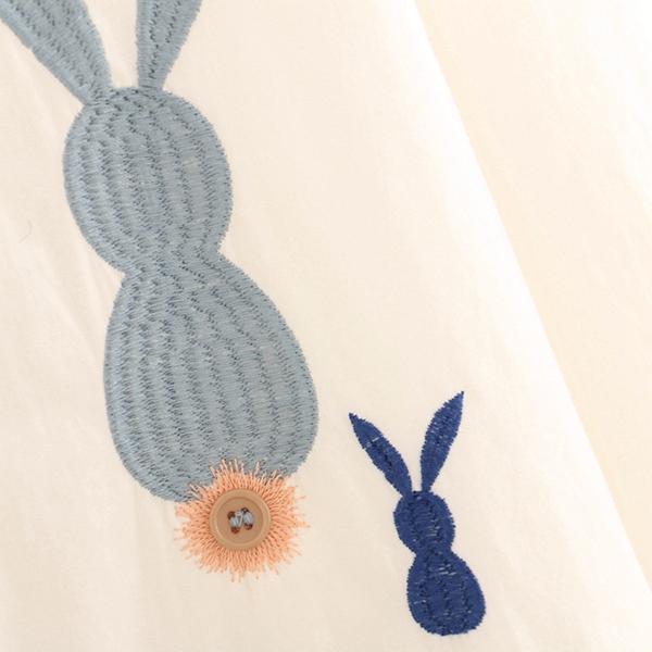 เดรสเชิ้ตแฟชั่นญี่ปุ่น แขนยาว ปักลายกระต่าย