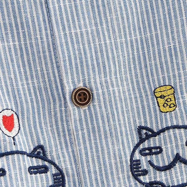 เดรสเชิ้ตแฟชั่นญี่ปุ่น แขนยาว แต่งปักลายแมว