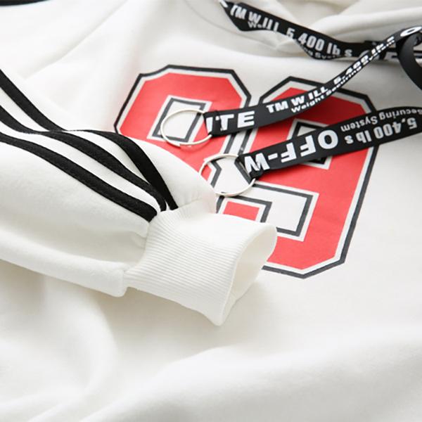 เสื้อสเว็ตเตอร์กันหนาว มีฮู้ด พิมพ์เลข 89 แขนแต่งแทบตัดสี