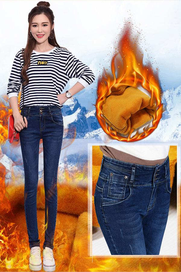 กางเกงยีนส์กันหนาวทรงสกินนี่ รุ่นหนาซับกำมะหยี่ใส่ติดลบได้