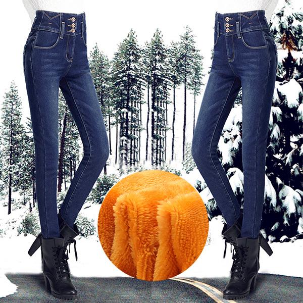 กางเกงยีนส์กันหนาว เอวสูง ทรงสลิม รุ่นหนาซับกำมะหยี่