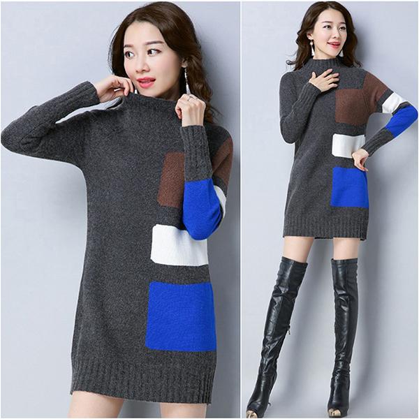 เสื้อสเวตเตอร์กันหนาวตัวยาว คอสูง ไหมพรมกึ่งวูลหนานุ่ม (12057B)