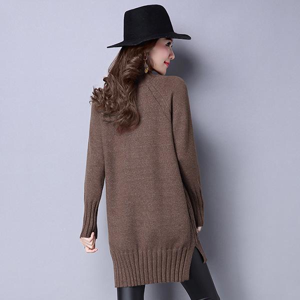 เสื้อสเวตเตอร์กันหนาวตัวยาว คอสูง ไหมพรมกึ่งวูลหนานุ่ม