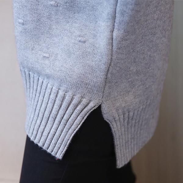 เสื้อไหมพรมคอเต่ากันหนาว ผ้าทอนิ่มถักลายนูน