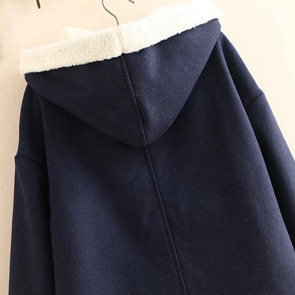 เสื้อโค้ทกันหนาววินเทจ มีฮู้ด ซับขนแกะหนานุ่ม