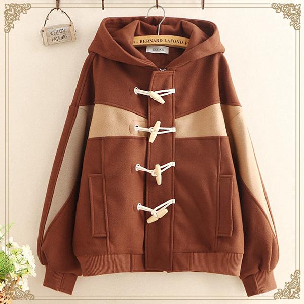 เสื้อแจ็คเก็ตกันหนาววินเทจ มีฮู้ด ผ้าแคชเมียร์หนานุ่ม (12251LM)