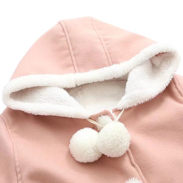เสื้อแจ็คเก็ตกันหนาวทรงเอ มีฮู้ด ซับผ้าขนนุ่มเต็มตัว
