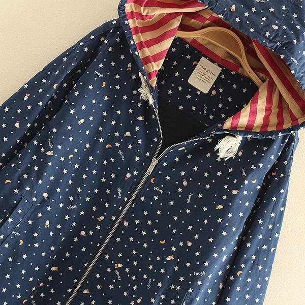 เสื้อแจ็คเก็ตแฟชั่นญี่ปุ่น ผ้าทอลายดาว ฮู้ดซับผ้าลายขวาง