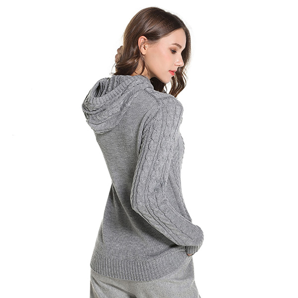 เสื้อสเวตเตอร์กันหนาว มีฮู้ด ไหมพรมหนานุ่มถักลายนูน