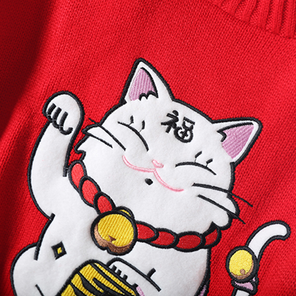 เสื้อสเวตเตอร์ไหมพรมนิตติ้งนิ่ม คอสูง ปักลายแมวญี่ปุ่น