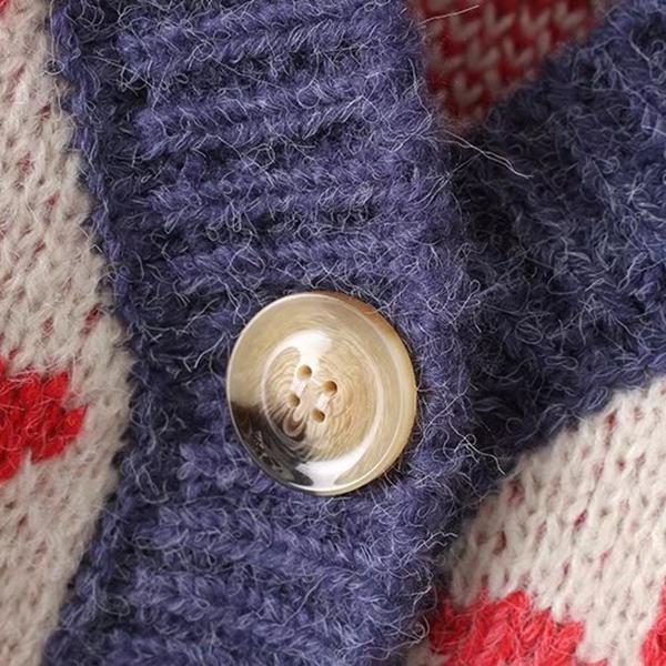 เสื้อกันหนาวไหมพรม คาร์ดิแกนผ่าหน้าติดกระดุม ถักลายวินเทจ